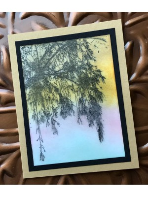 Large Asian Tree Background Rubber Stamp