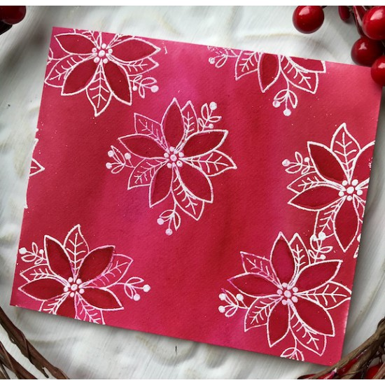 Christmas Poinsettia Rubber Stamp