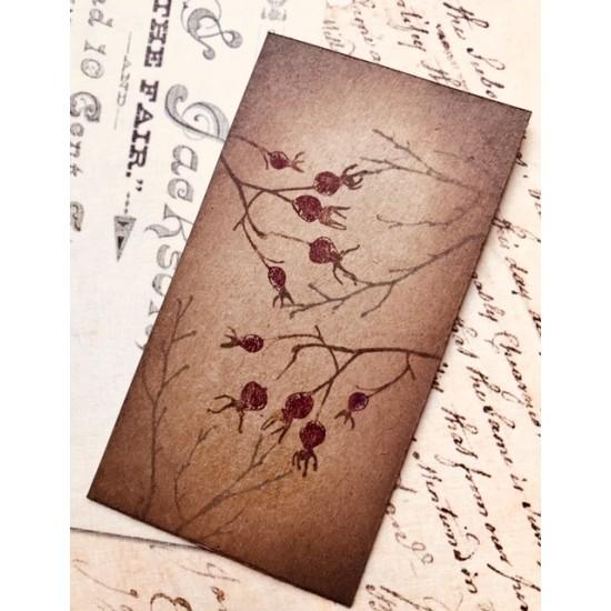 Wild Rose Berries Rubber Stamp