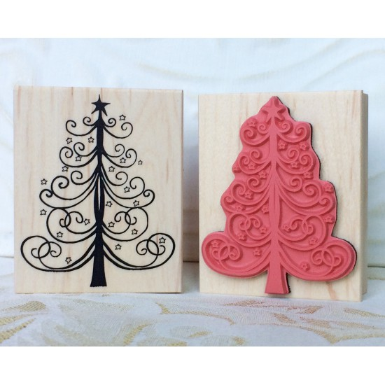 Starry Christmas Tree Rubber Stamp