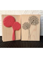 Retro Two Dandelions Rubber Stamp