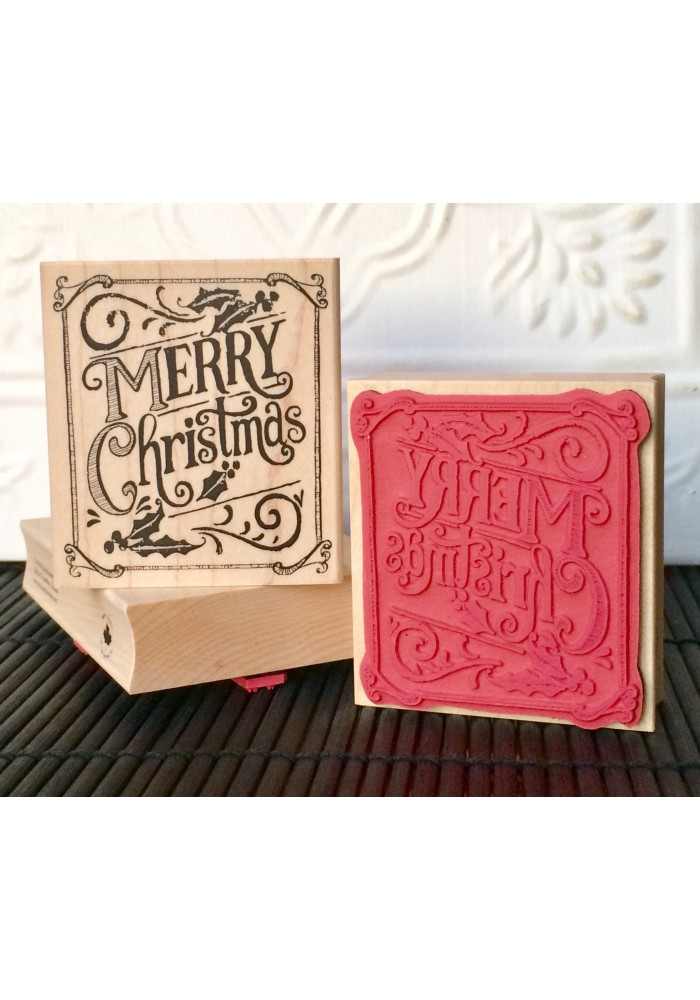 Merry Christmas Chalk Board Rubber Stamp
