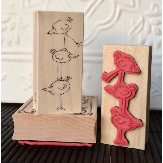 Balancing Bird Ladder Rubber Stamp