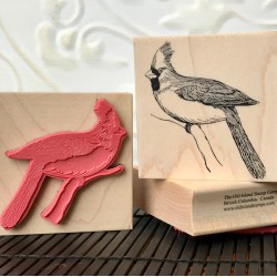 Bird with crown Red rubber stamp
