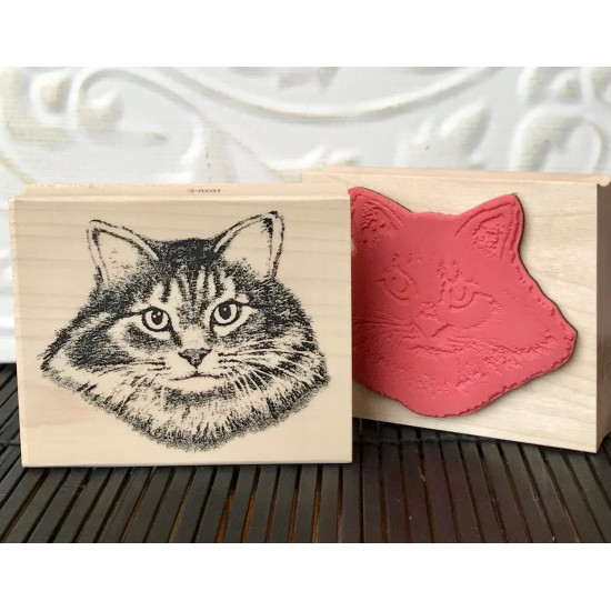 Maine Coon Cat Rubber Stamp