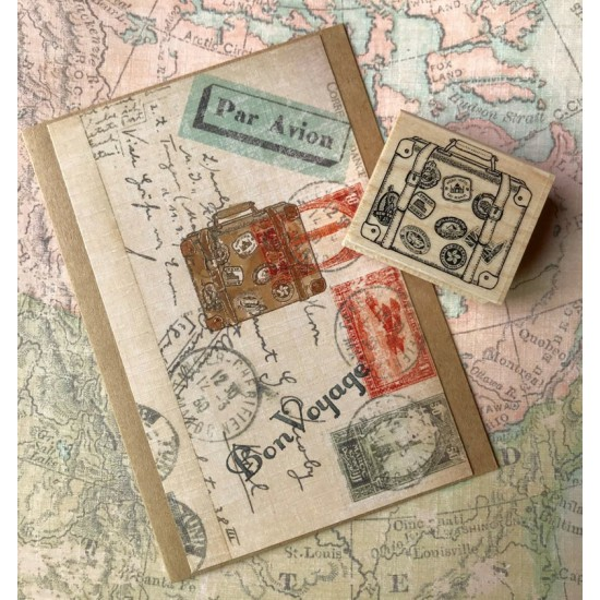 World Traveller Vintage Suitcase Rubber Stamp