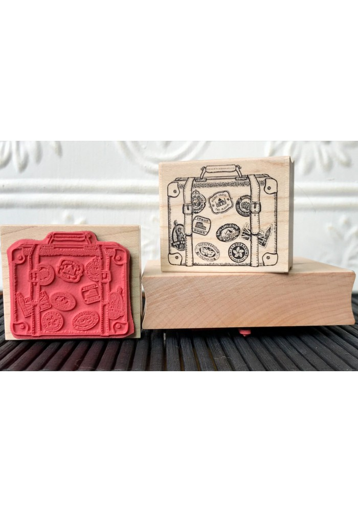 World Traveller Vintage Suitcase Rubber Stamp