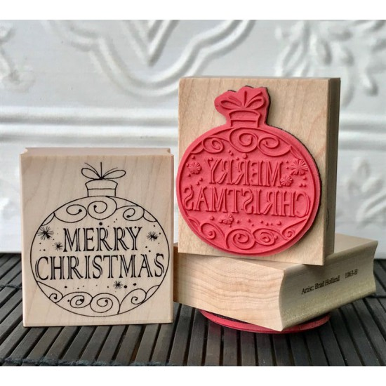 Merry Christmas Ball Decoration Rubber Stamp