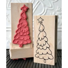Snowy Christmas Tree Rubber Stamp