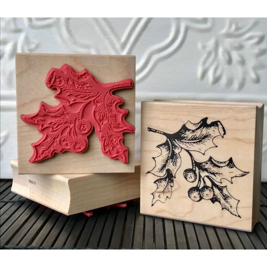 Vintage Holly Rubber Stamp