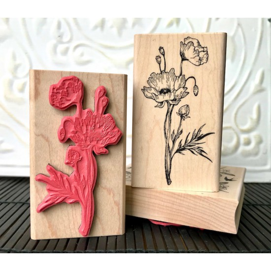 Wild Poppy Rubber Stamp