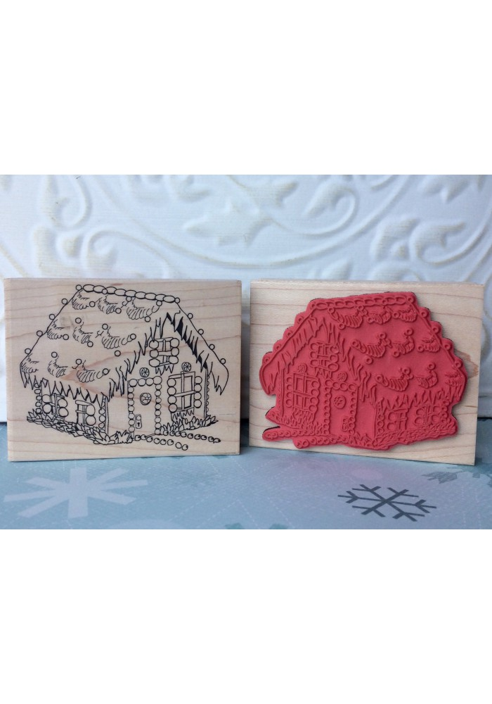 Gingerbread House Rubber Stamp