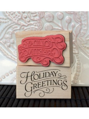 Holiday Greetings Rubber Stamp