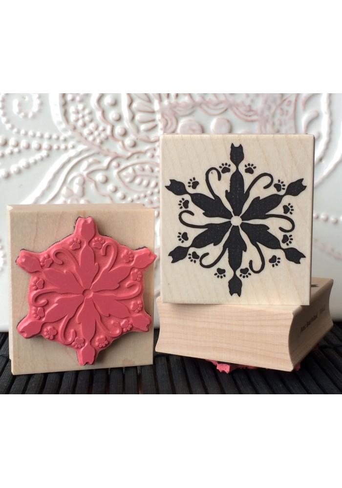 Frosty Feline Snowflake Rubber Stamp