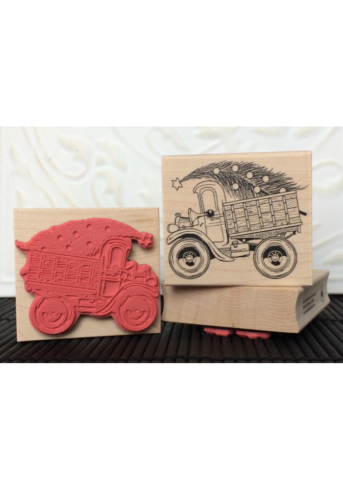 Vintage Truck with Christmas Tree Rubber Stamp