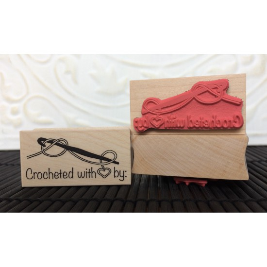 Crocheted with Love Rubber Stamp