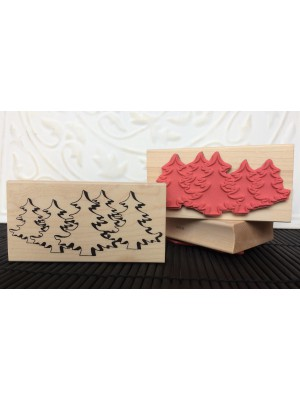 Curvy Trees Rubber Stamp