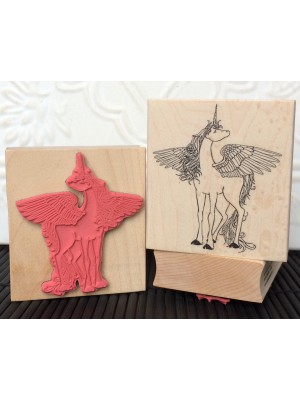 Winged Unicorn Rubber Stamp