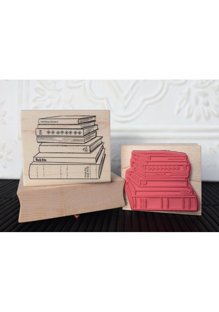 Stack of Books Rubber Stamp