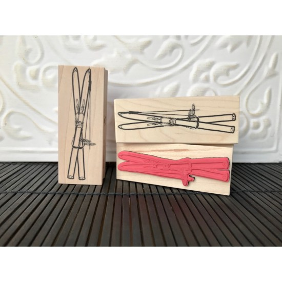 Vintage Skis Rubber Stamp