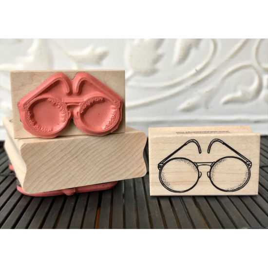 Vintage Glasses Rubber Stamp