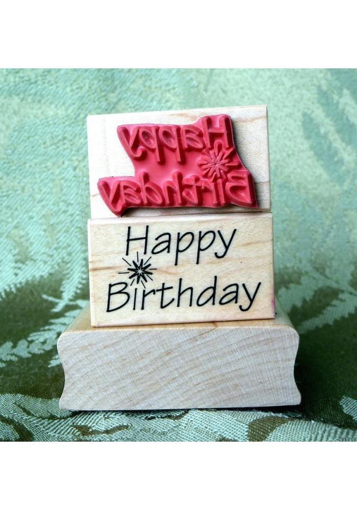 Birthday with Sparkler Rubber Stamp