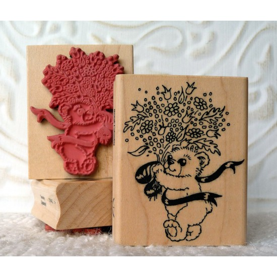 Teddy with Bouquet Rubber Stamp