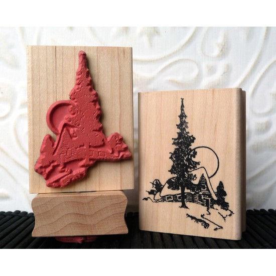 Moonlight Cabin Rubber Stamp