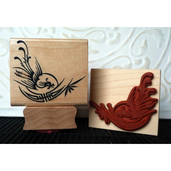 Phoenix and Shou Rubber Stamp