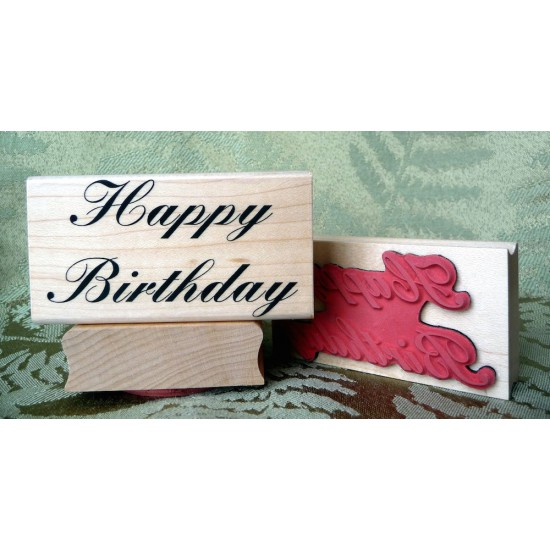 Large Happy Birthday Rubber Stamp