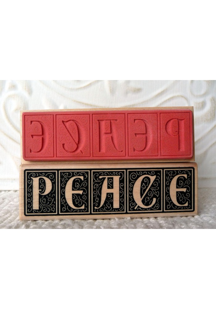 Peace Script Rubber Stamp
