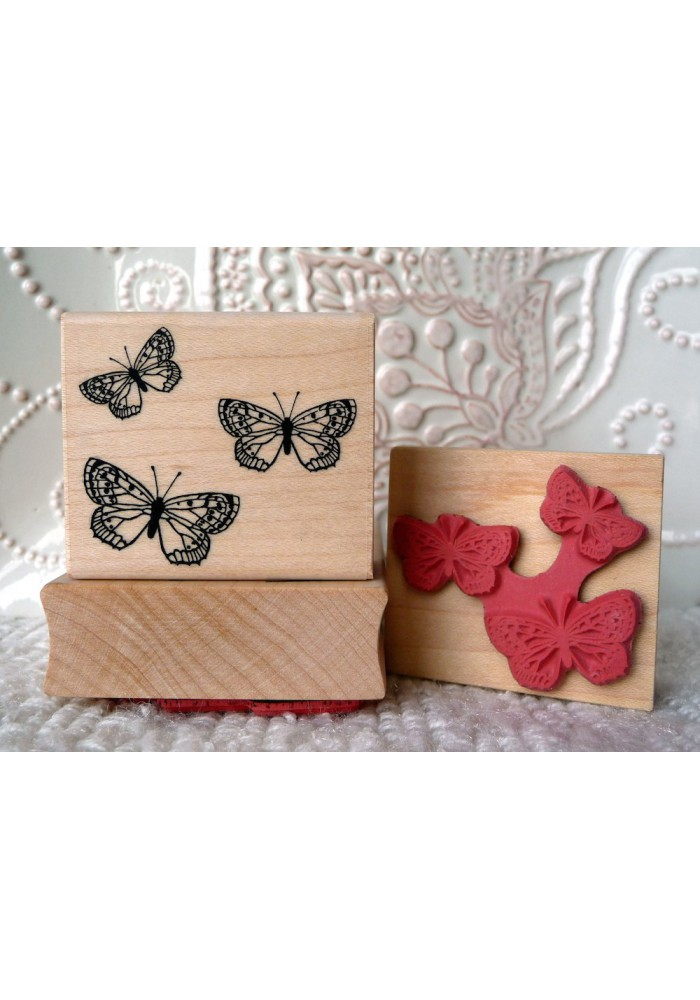 Three Butterflies Rubber Stamp
