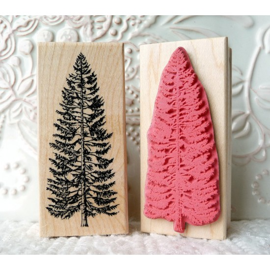 Small Spruce Tree Rubber Stamp