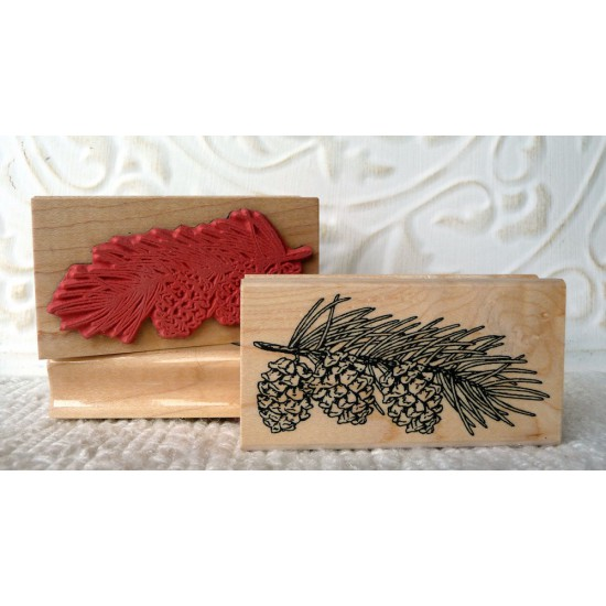 Pine Cone Branch Rubber Stamp