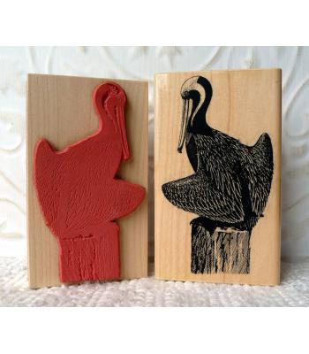 Brown Pelican Bird Rubber Stamp