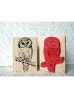 Saw-Whet Owl Rubber Stamp