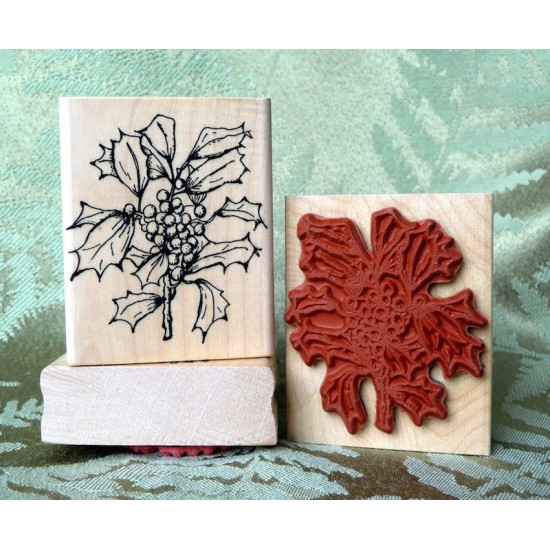Holly Branch Rubber Stamp