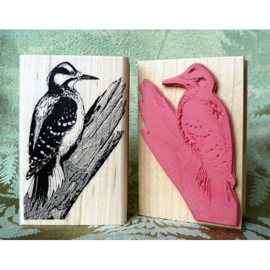 Hairy Woodpecker Bird Rubber Stamp