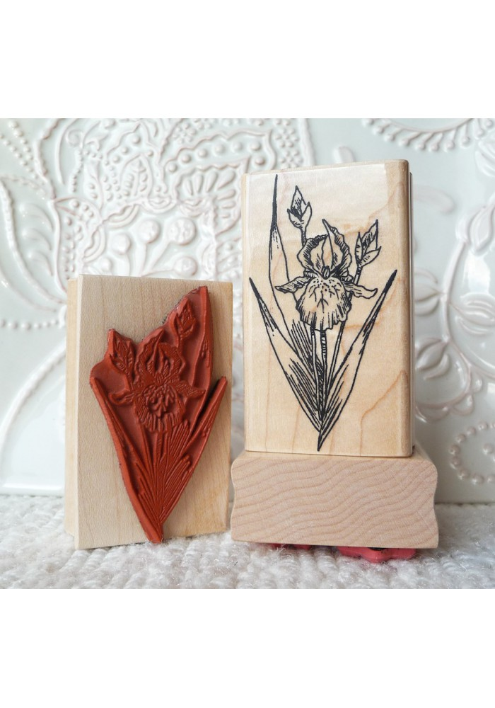 Iris Flower Rubber Stamp