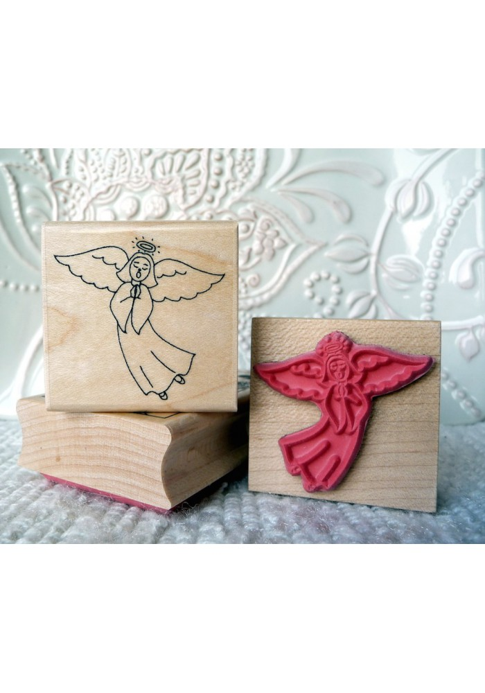Singing Angel Rubber Stamp