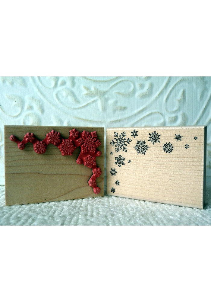 Corner Snowflakes Rubber Stamp