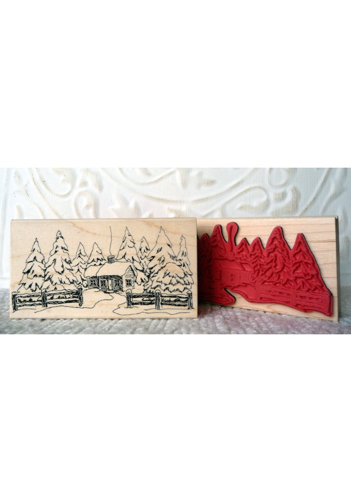 Snowy Cabin Rubber Stamp