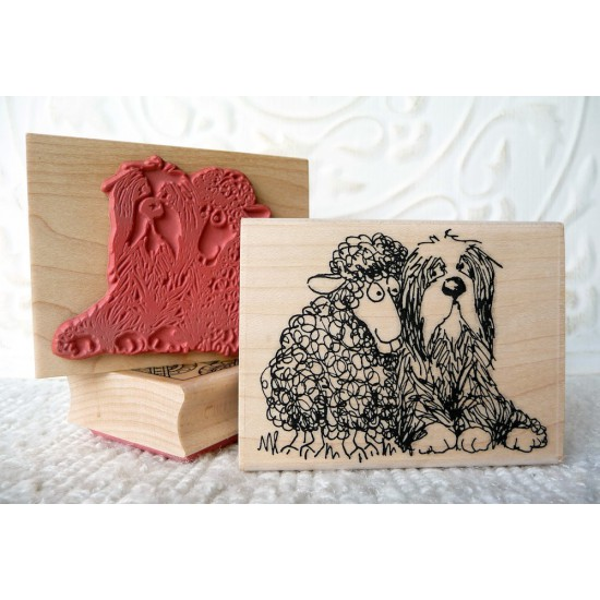 Sheep and Sheepdog Rubber Stamp