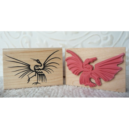 Asian Crane Rubber Stamp