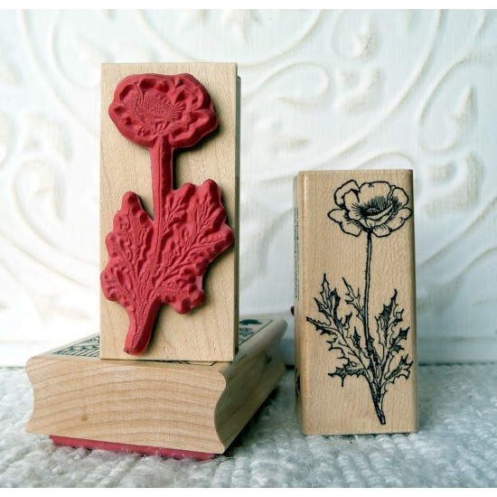 Poppy Flower Rubber Stamp