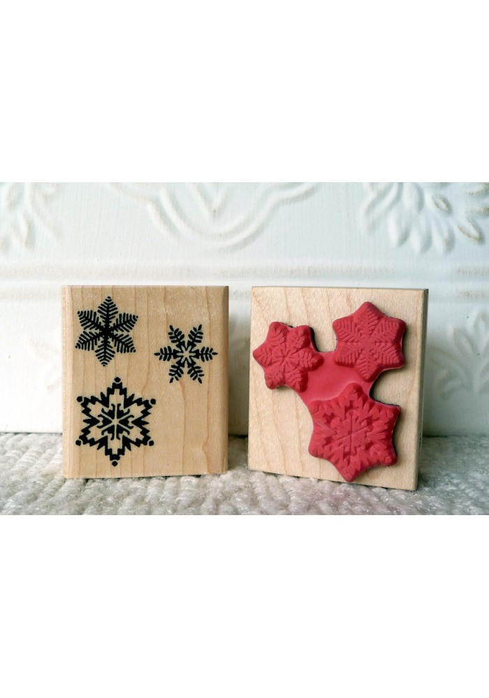 3 Snowflakes Rubber Stamp