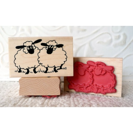 2 Sheep Rubber Stamp