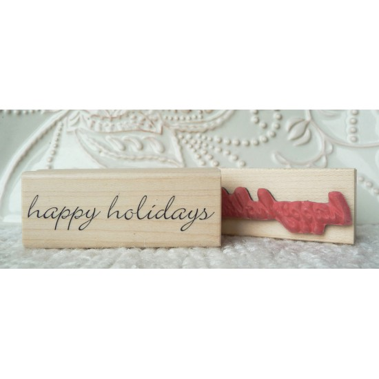 happy holidays Rubber Stamp