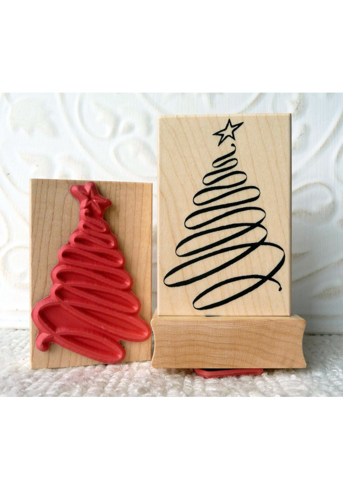 Ribbon Christmas Tree Rubber Stamp