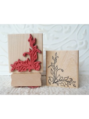 Corner Leaves Rubber Stamp